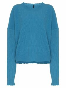 Unravel Project distressed-effect ribbed jumper - Blue