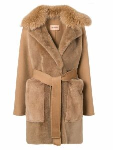 Yves Salomon belted cashmere coat - Brown