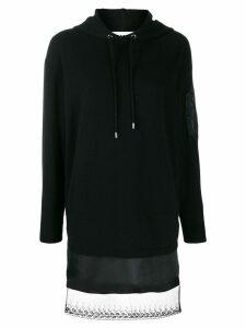 Moschino lace hem hooded dress - Black