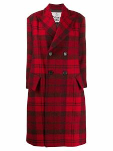 Vivienne Westwood Anglomania double breasted tartan coat - Red