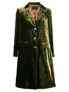 Etro velvet single breasted coat - Green