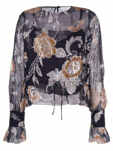 See By Chloé drawstring floral blouse - Black