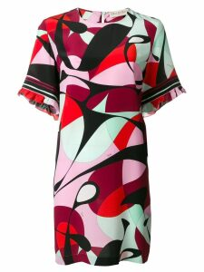 Emilio Pucci Alex Print Ruffle Sleeve Shift Dress - PINK
