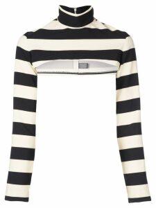 Christian Siriano cropped striped jumper - Black