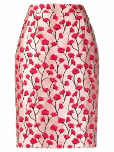 be blumarine floral patterned pencil skirt - Pink