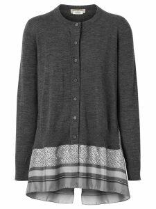 Burberry Monogram Print Scarf Detail Wool Cardigan - Grey