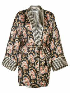 Oscar de la Renta tapestry floral print kimono - Black