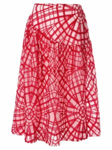 Simone Rocha geometric stitched skirt - Red