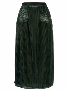 Marco De Vincenzo metallic pleated midi skirt - Blue
