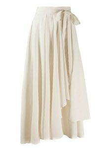 Alysi asymmetric wrap midi skirt - NEUTRALS