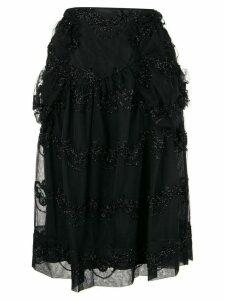Simone Rocha embroidered midi skirt - Black