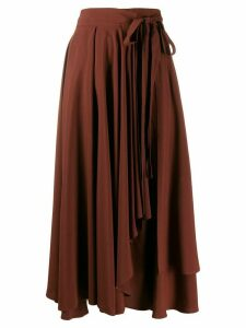 Alysi asymmetric wrap midi skirt - Brown