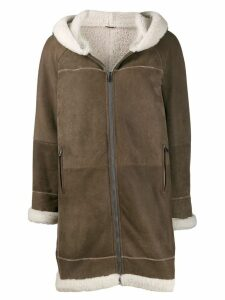 Brunello Cucinelli hooded shearling coat - Brown