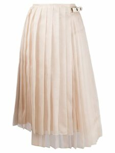 Fendi asymmetric pleated skirt - Neutrals