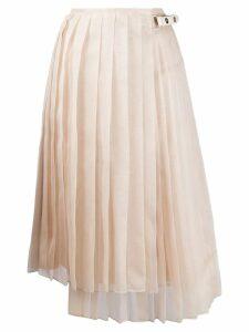 Fendi asymmetric pleated skirt - NEUTRALS
