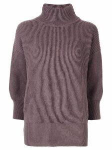 Agnona cashmere ribbed turtleneck jumper - Purple