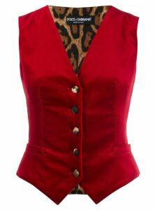 Dolce & Gabbana leopard panel velvet waistcoat - Red
