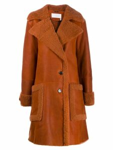 Chloé mid-length shearling coat - ORANGE