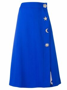 Emilio Pucci Blue Button Detail Midi Skirt