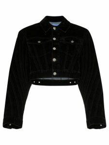 Mugler velvet cropped denim jacket - Black