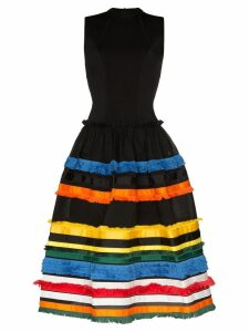 Angel Chen embroidered-stripe midi dress - Black
