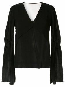 Dion Lee ruffle sleeve layered blouse - Black