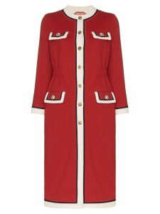 Gucci collarless wool coat - Red