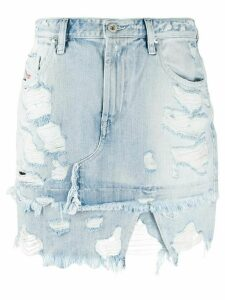 Diesel asymmetric distressed denim skirt - Blue