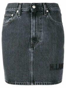 Helmut Lang brand-embroidered denim mini-skirt - Blue