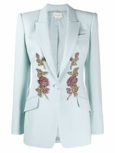 Alexander McQueen crystal embroidered blazer - Blue
