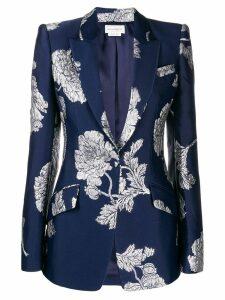 Alexander McQueen embroidered floral print blazer - Blue