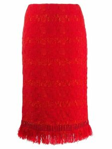 Ermanno Scervino fringed pencil skirt - Red
