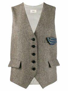 Barena herringbone button waistcoat - Brown