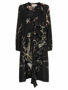 By Walid Edith nature-print ruffle dress - Black