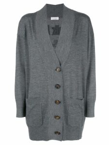 Brunello Cucinelli oversized slogan back cardigan - Grey