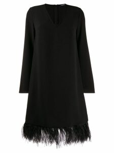 P.A.R.O.S.H. feather-embellished hem dress - Black