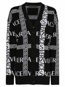 Versace Grecca logo-intarsia cardigan - Black