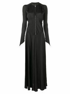 Paco Rabanne long sleeve evening dress - Black