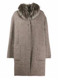Manzoni 24 fur trim herringbone coat - Brown