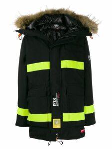 R13 colour-block parka coat - Black