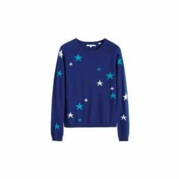 Chinti & Parker Blue Tonal Star Cashmere Sweater