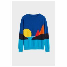 Chinti & Parker Blue Seascape Cashmere Sweater
