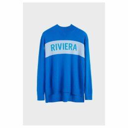 Chinti & Parker Royal-blue Riviera Cashmere Polo Neck Sweater