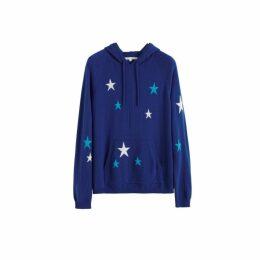 Chinti & Parker Blue Tonal Star Cashmere Hoodie