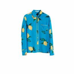 Chinti & Parker Blue Lemon Print Silk Shirt