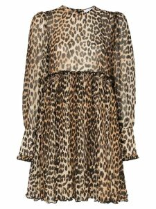 Ganni leopard print mini dress - Black