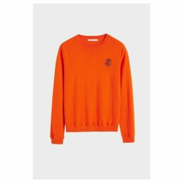 Chinti & Parker Orange Anchor Badge Cashmere Sweater