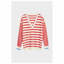 Chinti & Parker Red Striped Cashmere V Neck Sweater
