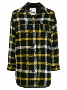8pm fringe-trimmed checked coat - Black
