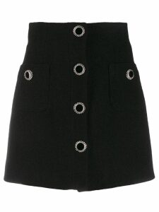 Alessandra Rich decorative button skirt - Black